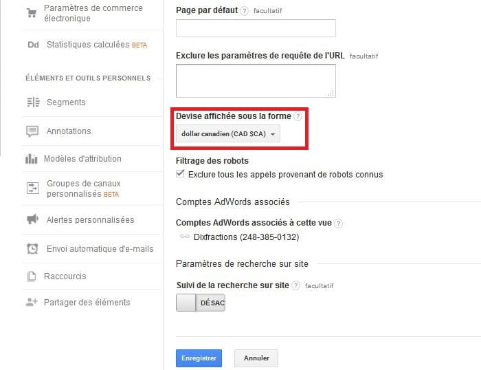 Changement de devise Google Analytics
