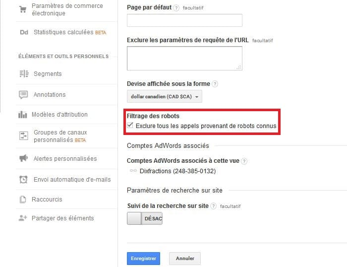 Filtrage des robots Google Analytics